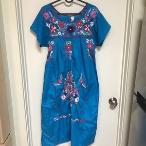 Mexicana Dress Blue Embroidery Handmade in Mexico